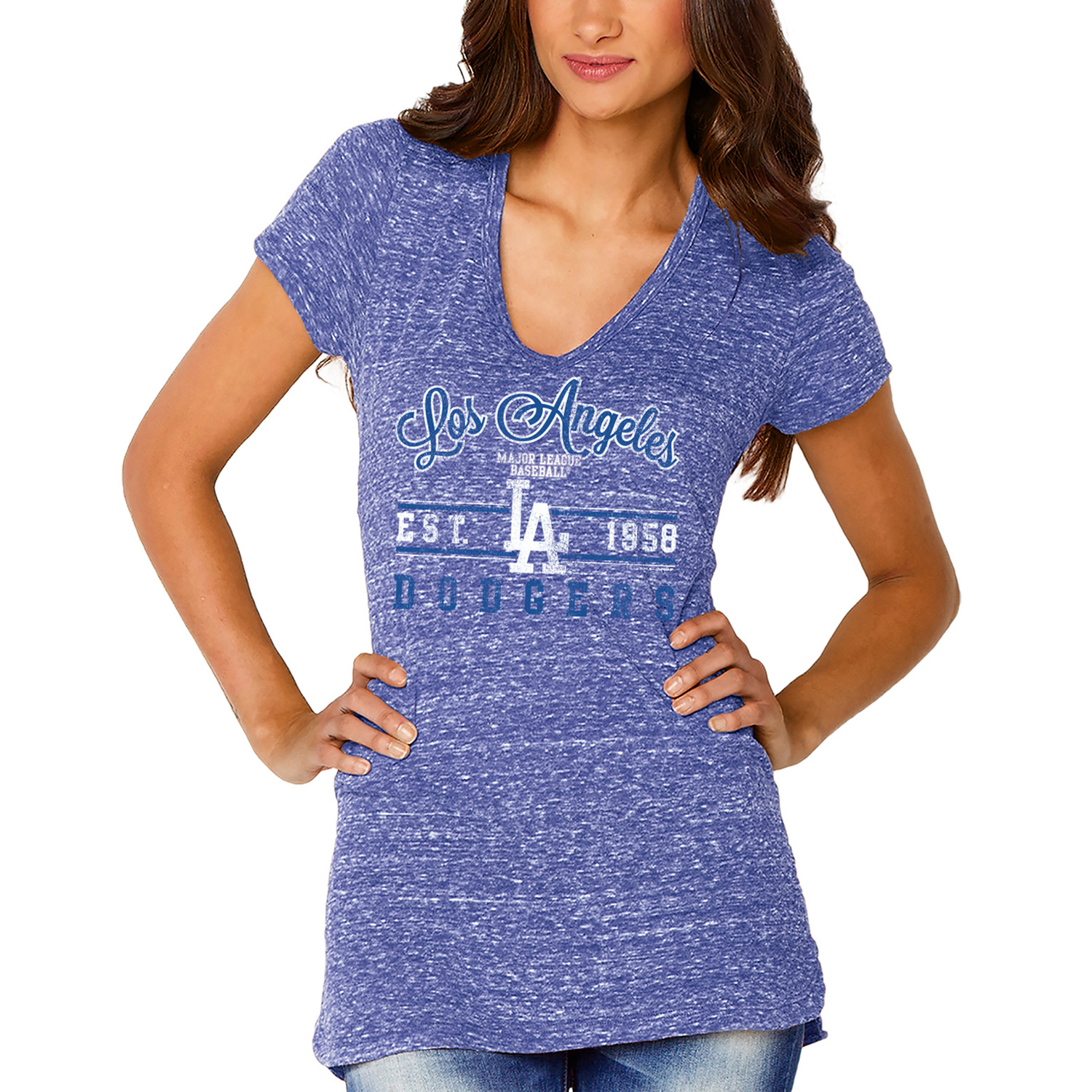 Los Angeles Dodgers Soft as a Grape Women's Double Play V-Neck T-Shirt - Royal