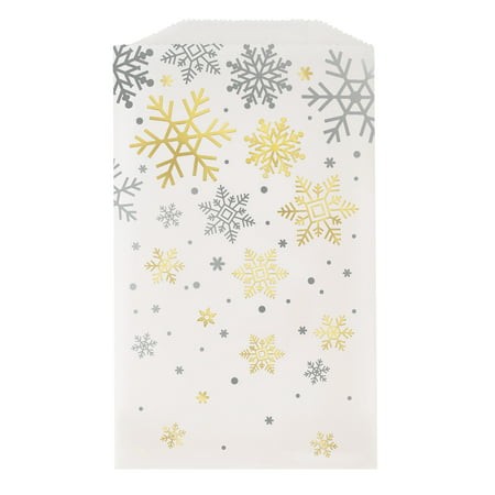 Silver & Gold Snowflakes Holiday Glassine Cookie Bags, 6.5 x 3.75 in, Foil, - Holiday Cookie Bags