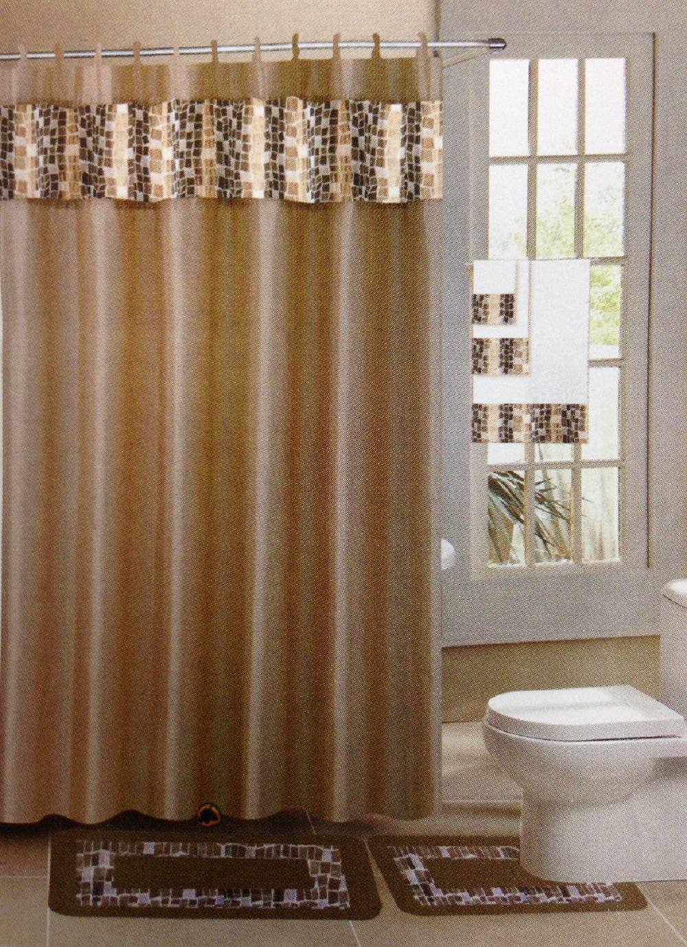 Mosaic Gold Taupe 15 Piece Bathroom Accessory Set 2 Bath Mats Shower Curtain 12 Fabric Covered Rings