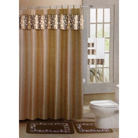 Mosaic gold taupe 15 piece bathroom accessory set 2 for Gold mosaic bathroom accessories