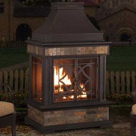 Sunjoy Heirloom Steel Wood Burning Outdoor Fireplace