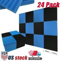 "24 Pack Soundproofing Foam Studio Acoustic Foam Panel Wedge Tiles 12""x12"" Black /Blue"