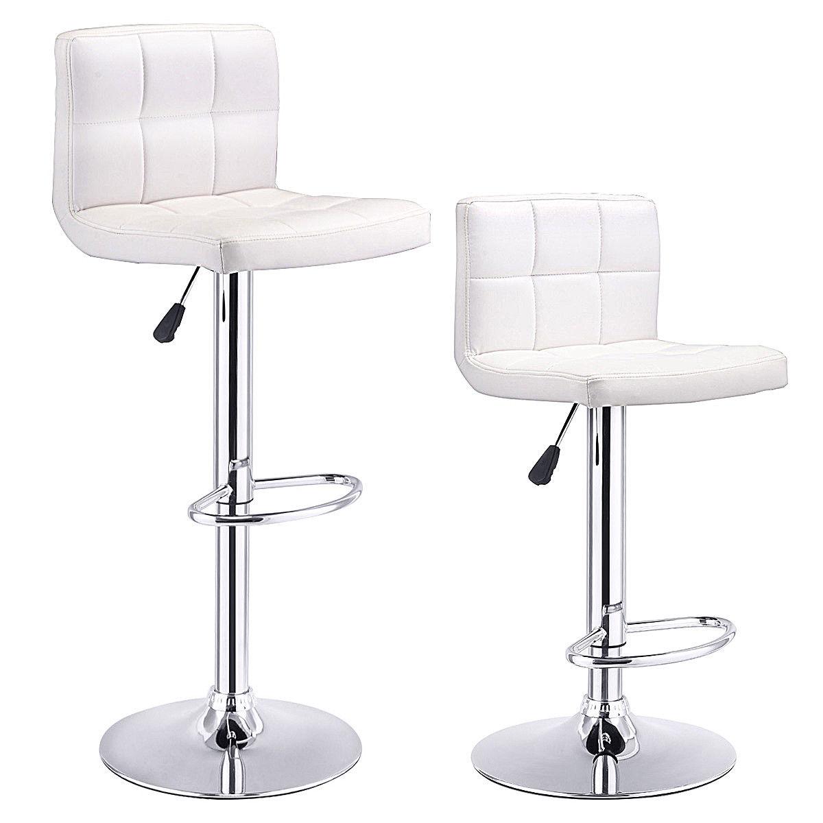 Set Of 2 Bar Stools PU Leather Adjustable Barstool Swivel Pub Chairs White - image 10 de 10