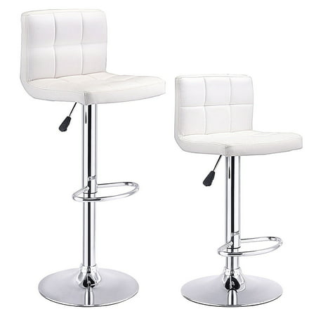 Costway Set Of 2 Bar Stools PU Leather Adjustable Barstool Swivel Pub Chairs White