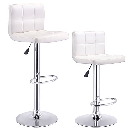 Costway Set Of 2 Bar Stools PU Leather Adjustable Barstool Swivel Pub Chairs White ()