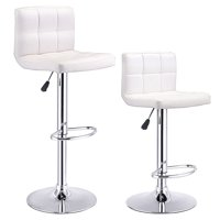 Product Image Costway Set Of 2 Bar Stools Pu Leather Adjule Barstool Swivel Pub Chairs White