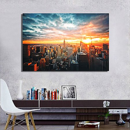 Unframed Fashion New York City Sunset Cityscape Abstract Photos Art on Silk Cloth Painting Wall Art Picture Print Artwork for Living Room Bedroom Office Wall 35 x 23