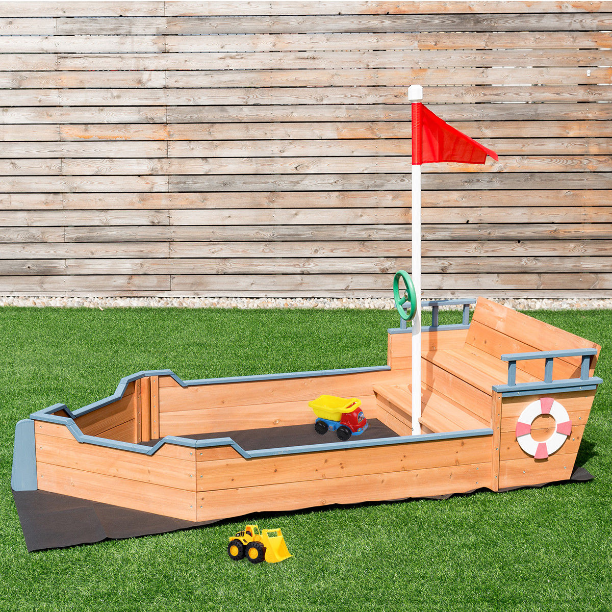 Costway Pirate Boat Wood Sandbox for Kids with Bench Seat and Flag Pirate Sandbox Toys by Costway