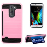 LIGHT PINK ROSE GOLD BRUSHED METAL DESIGN SHELL CASE RUGGED TPU RUBBER HARD COVER WITH CARD STAND FOR LG K7 and LG TRIBUTE 5  (LG LS675, LG MS330, Sprint, MetroPCS, Boost Mobile)