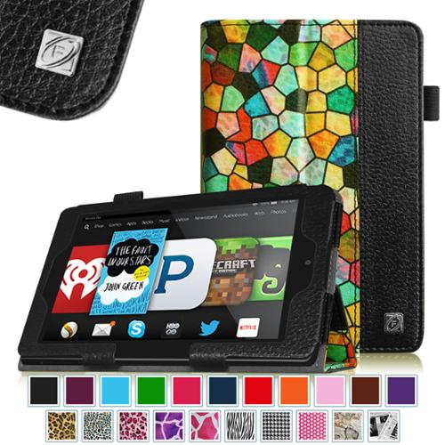 Fintie Kindle Fire HD 6 Tablet (2014 Oct Release) Case - Slim Fit Leather Stand Cover with Sleep/Wake, Stained Glass