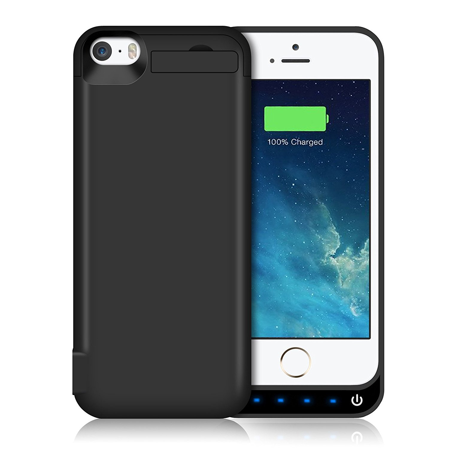iPhone 5S/5SE/5C/5 Battery Case Backup Charger Case Protection Cover 4600mAh Extended Battery Built in USB Power Bank & Pop-out Kickstand Charging Case(Up to 2.65X Extra Battery Life) Black