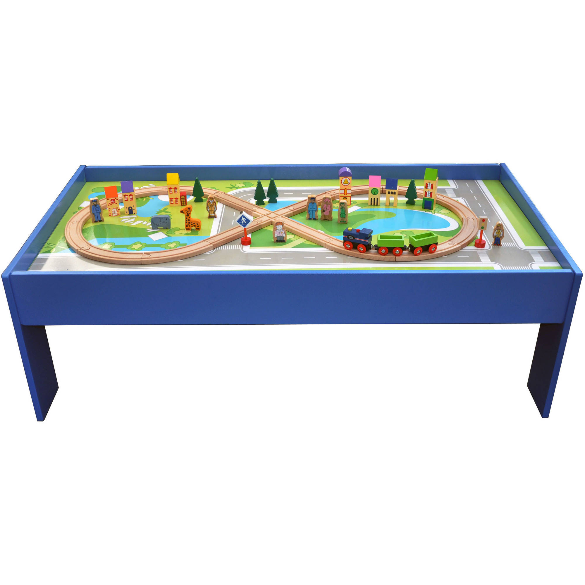 51-Piece Wooden Train Set with Table by
