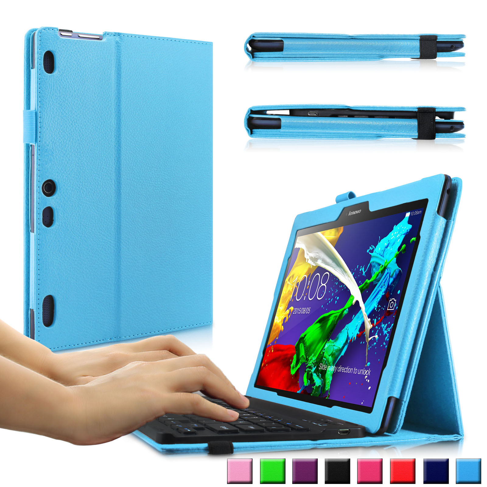 Infiland Folio PU Leather Case Cover with Magnetically Detachable Bluetooth Keyboard for Lenovo Tab 2 A10-70/A10-30 Tablet, Blue