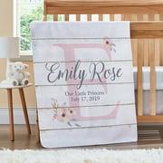 Personalized Elegant Baby Name Blanket - Floral