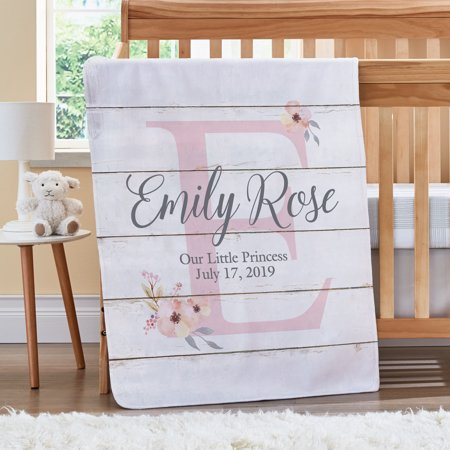 Personalized Elegant Baby Name Blanket - Floral