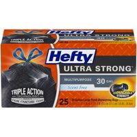 Hefty Ultra Strong Large Black Trash Bags, Unscented, 30 Gallon, 25 Bags
