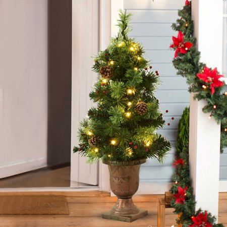Costway 3Ft Pre-Lit Christmas Entrance Tree w/ 40 LED Lights Red Berries Pine Cones