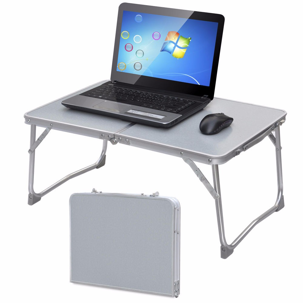 Folding Laptop Table Tray Desk Stand Large Bed Sofa Tray Portable Laptop Stand Table Desk with Foldtable Top Outdoor Camping Table