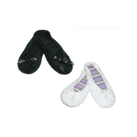 c49589b8dcd Isotoner - Women s Terry Classic Ballerina Slippers (Pack of 2) -  Walmart.com