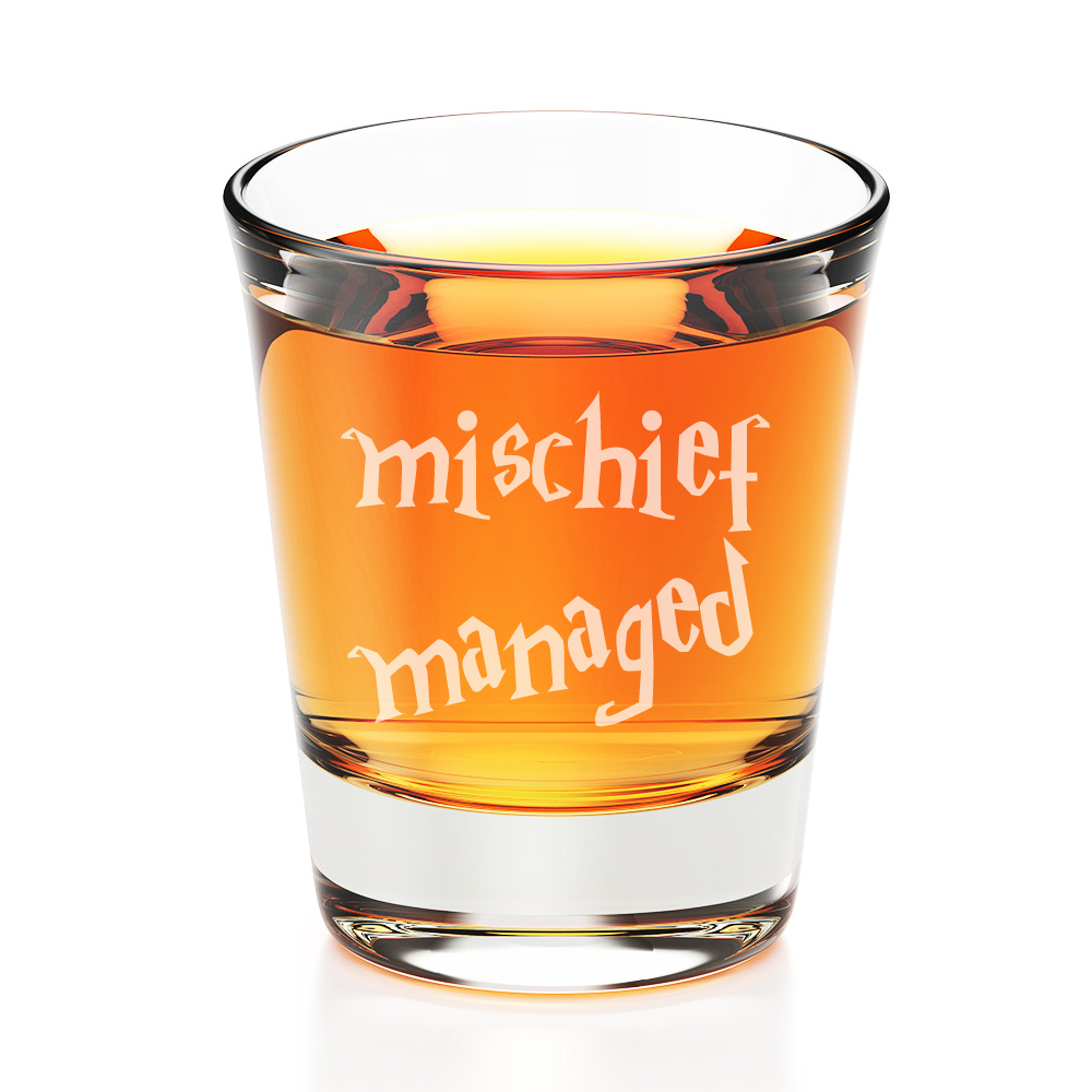 Mischief Managed Engraved Fluted Shot Glass