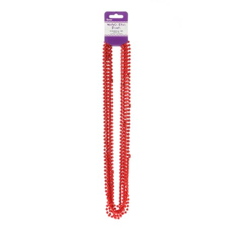 Mardi Gras Red Beads Necklace: Round, 6mm Beads, 33 inches, 10 pack