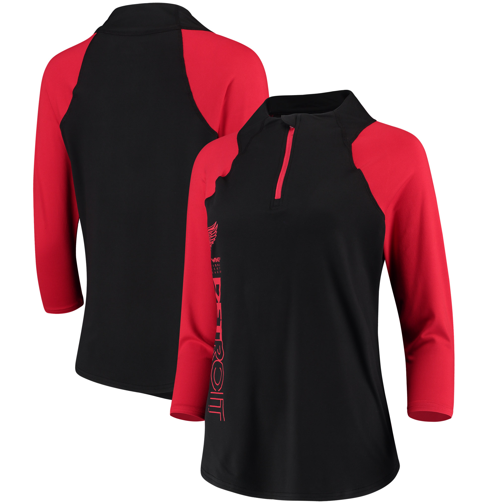 Detroit Red Wings G-III 4Her by Carl Banks Women's Zip It Up Quarter-Zip Long Sleeve T-Shirt - Black/Red
