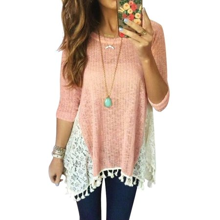 STARVNC Women 3/4 Sleeve Lace Splice Asymmetric Tassel Hem Blouse