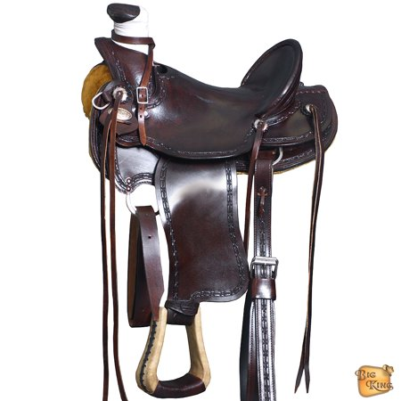 Western Horse Saddle Leather Wade Ranch Roping Dark Brown By