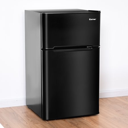 Costway Stainless Steel Refrigerator Small Freezer Cooler Fridge Compact 3.2 cu ft. (Rainbow Refrigerator)