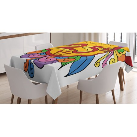 25th Birthday Decorations Tablecloth Cartoon Style Composition With Floral Details Swirls And Balloons Rectangular Table Cover For Dining Room Kitchen