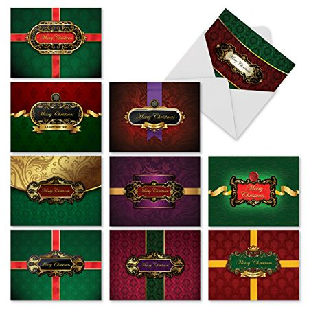 M10008XB HOLIDAY LABELS' 10 Assorted All Occasions Note Cards Feature Holiday Gifts Ready to  Be Opened with Envelopes by The Best Card