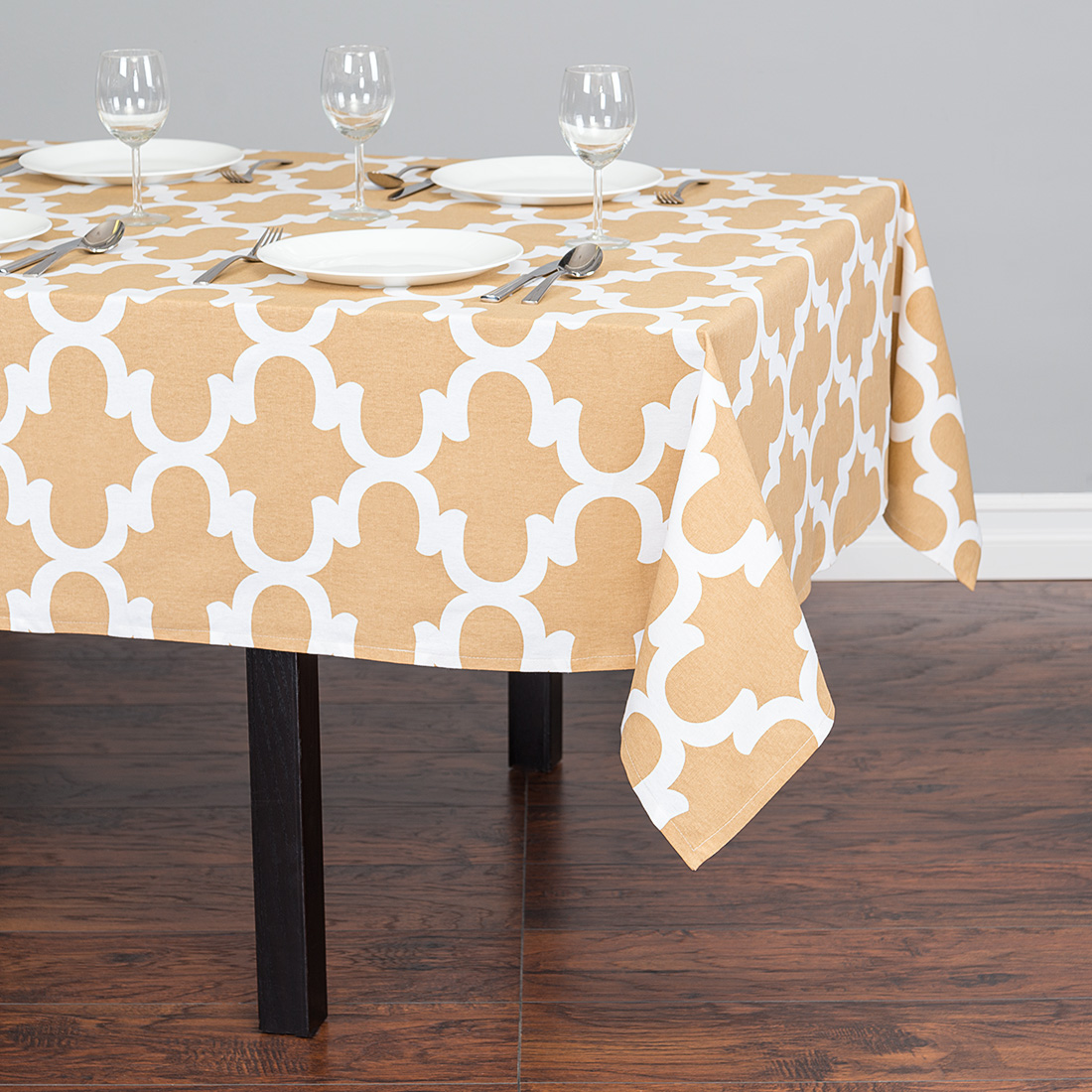 60 x 84 in. Trellis Rectangular Cotton Tablecloth Latte & White by