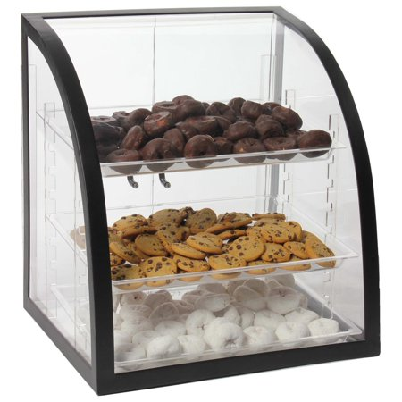 Clear Acrylic Food Display Case With Black Metal Frame, 18 x 17-3/4 x 16-1/4-Inch, Rear-loading Doors And 3 Removable Trays (CVMFT3SM)
