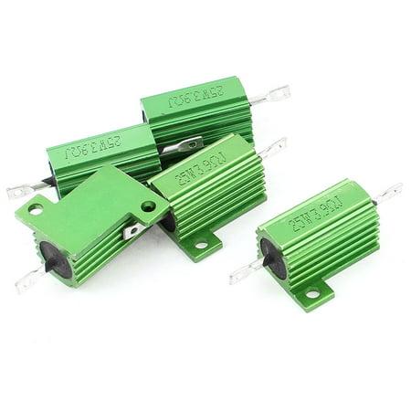 5 PCS 25W 3.9 Ohm 5% Axial Lead Aluminum Case Wirewound Resistors