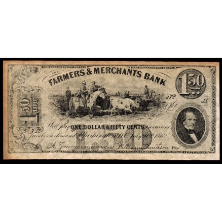 Stretched Canvas Art   Union Banknote  1862   Nwashington  D C  Banknote For One Dollar And Fifty Cents Issued By The Farmers   Merchants Bank  1862    Medium 18 X 24 Inch Wall Art Decor Size