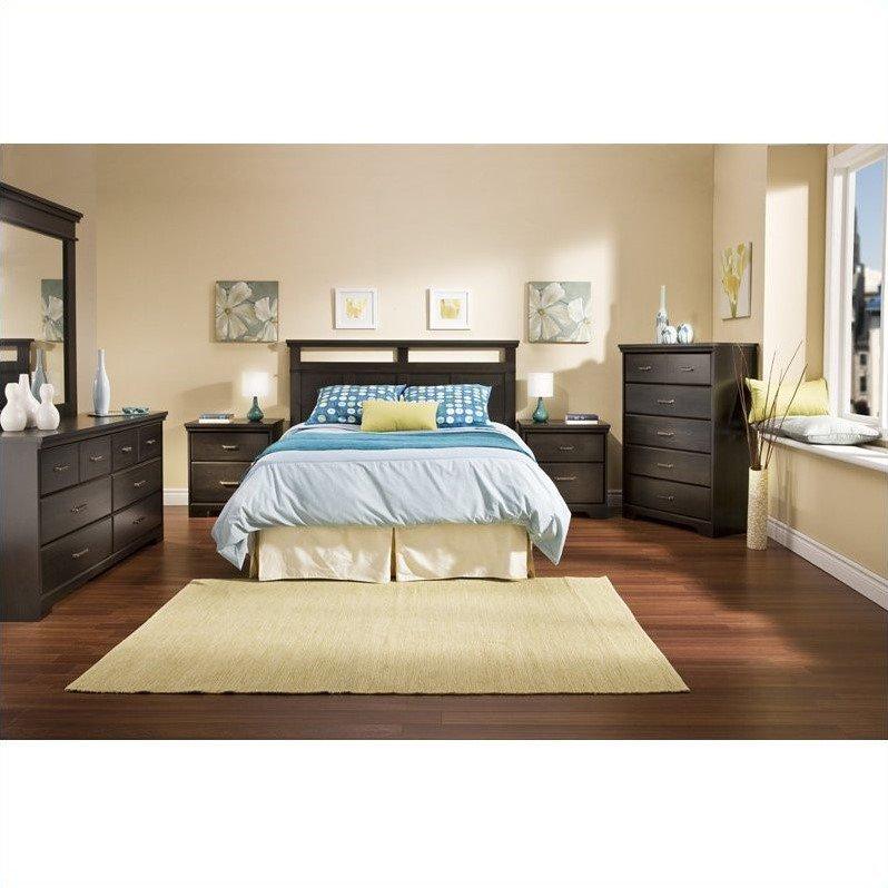 South Shore Versa Wood Panel Headboard 4 Piece Bedroom Set in Black Ebony by South Shore