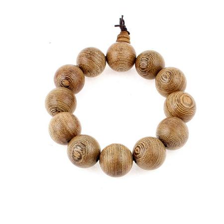 Men Women Wood Round Beads Elastic String Lucky Buddhist Prayer Bracelet Brown - image 1 de 2
