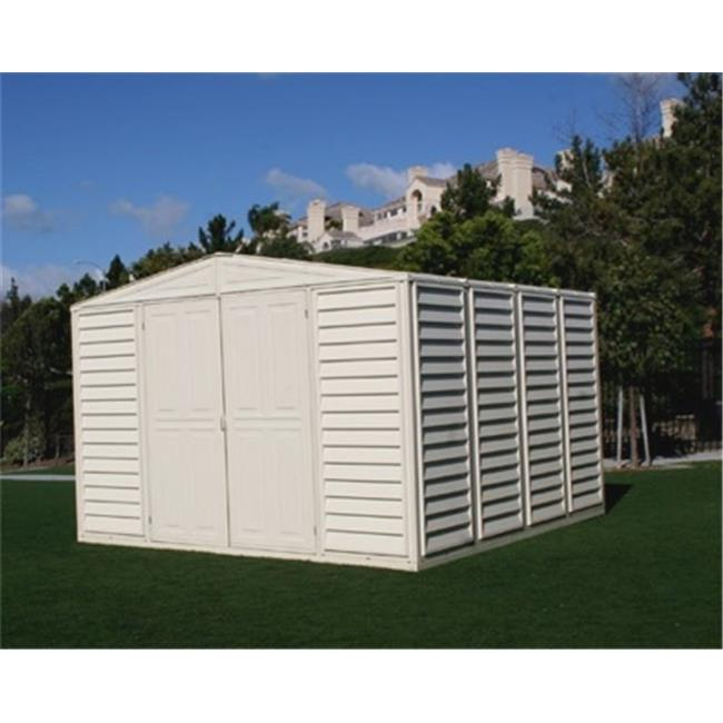 Us Polymers 00284 10 ft. x 8 Woodbridge Vinyl Storage Shed with Foundation, As Shown