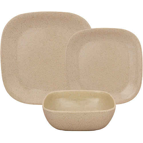 Gourmet Home Products Rounded Square Bamboo Melamine 12-Piece Dinnerware Set