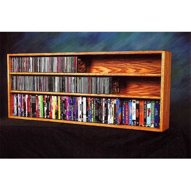 Wood Shed 312-4 W Solid Oak Wall or Shelf Mount for CD and DVD-VHS tape-Book Cabinet