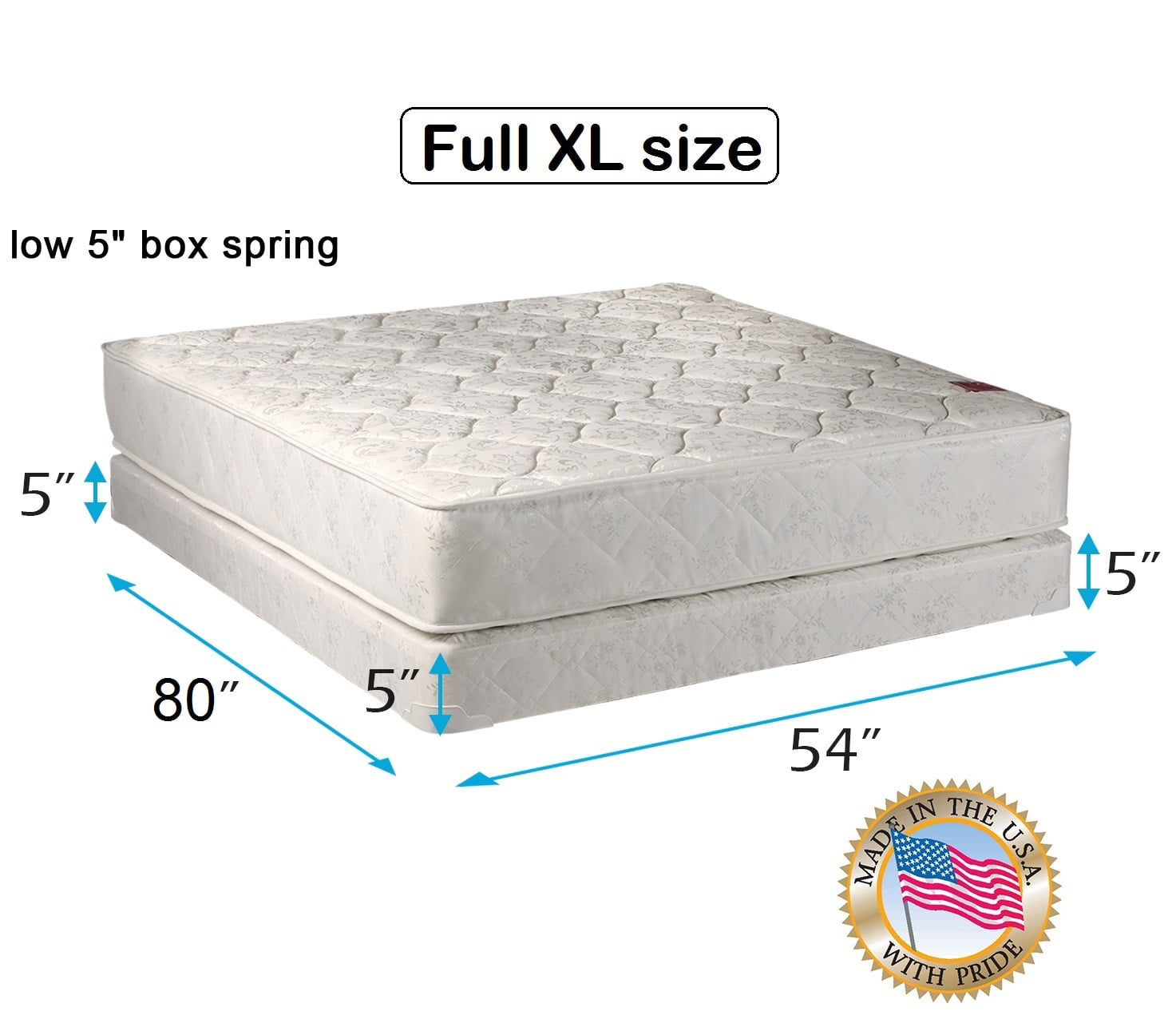 legacy full extra long size 54 x80 x8 mattress and low profile box spring set fully. Black Bedroom Furniture Sets. Home Design Ideas