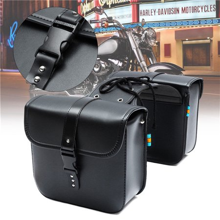 - A Pair Motorcycle Saddle Bag Bike Side Storage Fork Tool Pouch For Harley Honda