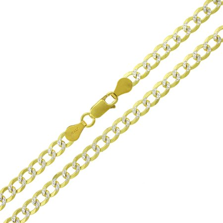 Silver Pave Curb Chain - .925 Sterling Silver 5mm Solid Cuban Curb Link Diamond Cut Pave Yellow Gold Plated ITProLux Necklace Chain 18