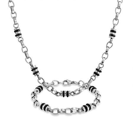 Mens Barrel Two Tone Black Rubber Fancy Chain Link Necklace Bracelet Set Silver Tone Stainless Steel Chain 19