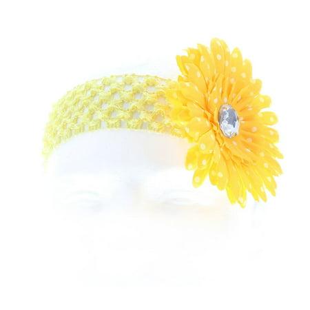 Hair Accessory Yellow Polka Dot Daisy Flower Crochet Headband Flower Crochet Headband
