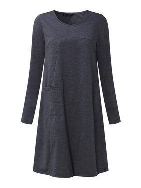 Womens Pocket Tunic Loose Long Sleeve Dresses