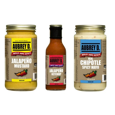 Gourmet Chipotle - Aubrey D.  Three in One Pack, Jalapeno Ketchup, Jalapeno Mustard, Real Chipotle Spicy Mayo, BBQ Spicy Gourmet Sauces  x 3