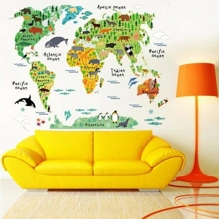 World Map Wall Decal Kids.Colorful Animal Wall Art World Map Wall Sticker Kids Room Nursery