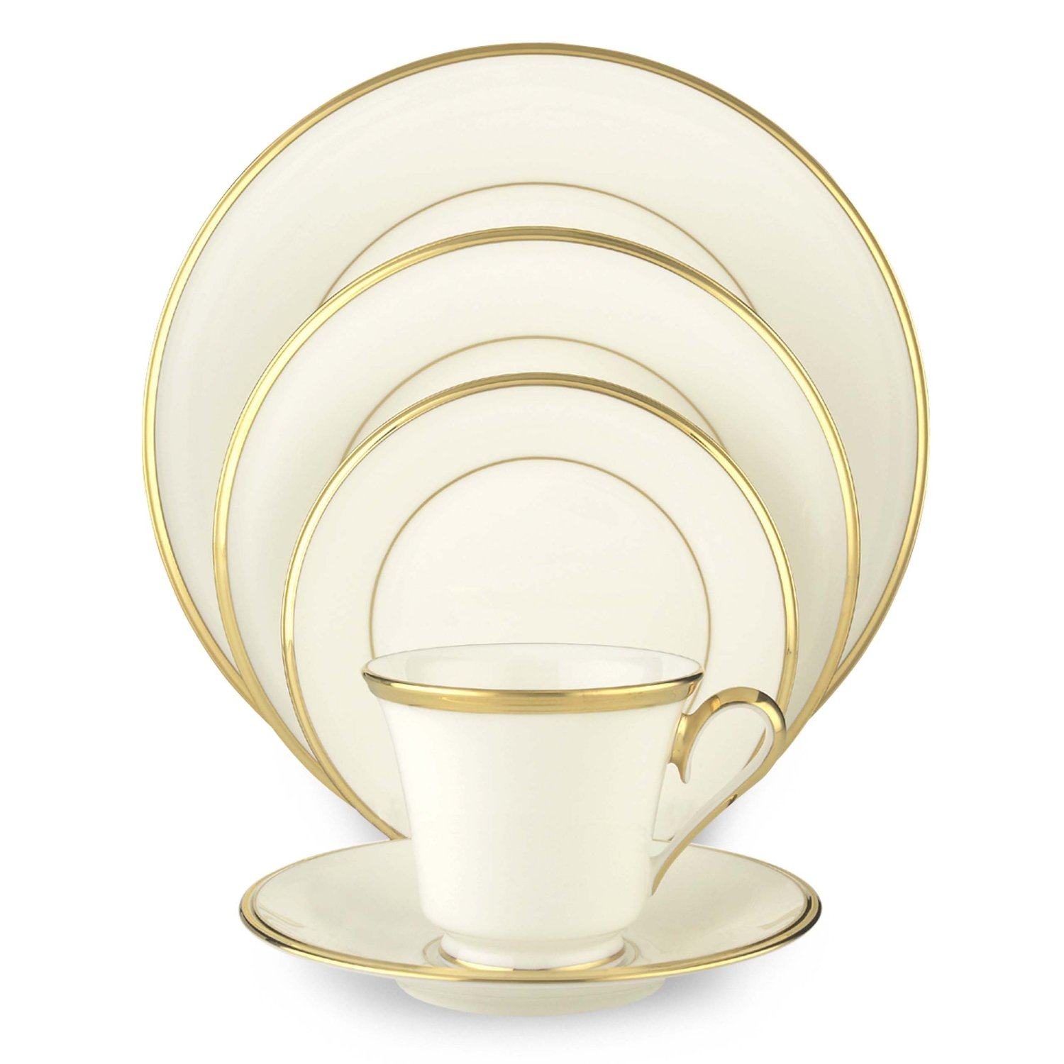 Lenox Eternal White Gold-Banded Bone China 5-Piece Place Setting, Service for 1 by Lenox
