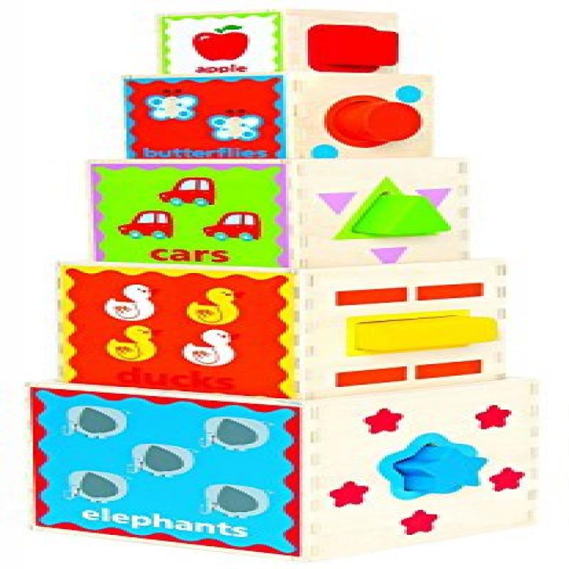 Hape Pyramid of Play Wooden Toddler Wooden Nesting Blocks...